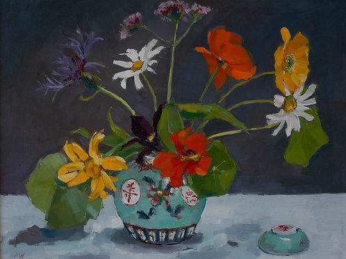 Nasturtiums and Summer Flowers in Chinese Pot