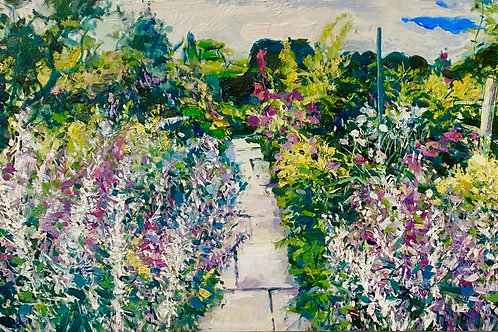 Beautiful affordable art floral painting of Great Dixter gardens, East Sussex by Ian Mowforth