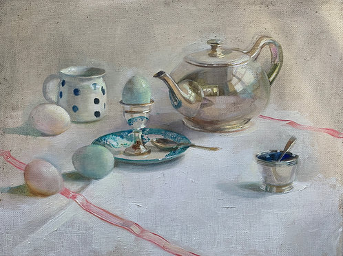 Traditional still life oil painting of a silver teapot, egg and egg cup on a linen tablecloth by Harriet Salt