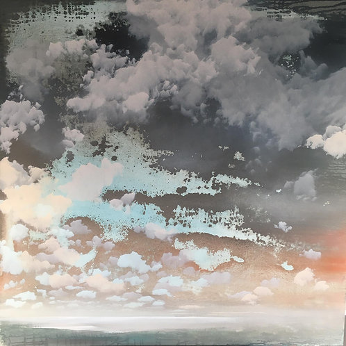 Beautiful skyscape painting by Sophie Carter in turquoise blue and pinks