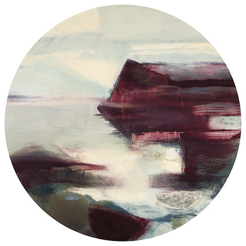 Beautiful contemporary circle landscape painting by Henrietta Stuart