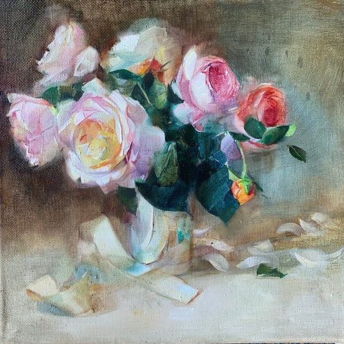 Beautiful oil painting of roses in a silver jug by Harriet Salt. Art for a country house.