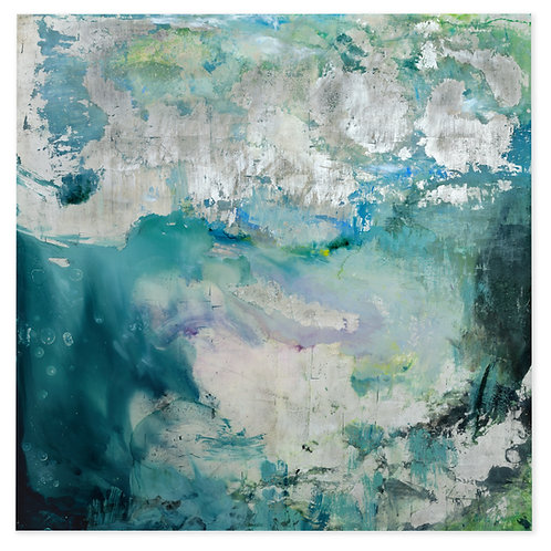 Stunning large contemporary painting called Tuscan Summer by Alice Cescatti in blues and greens and violet