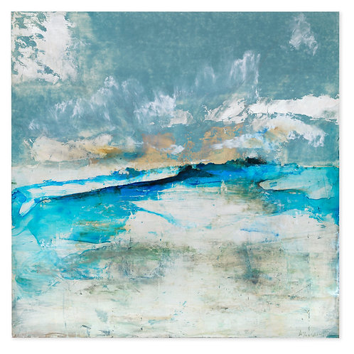 Super fresh turquoise blue sea and skyscape affordable art painting by Alice Cescatti