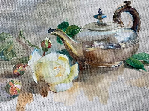 Traditional still life oil painting of a silver teapot and rose by Harriet Salt