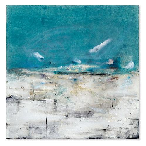 Contemporary seascape by Alice Cescatti in blues and silver gilding