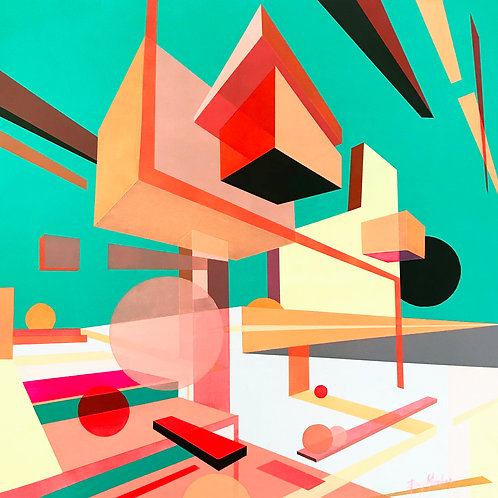 Contemporary graphic architectural art by Evy Meehan