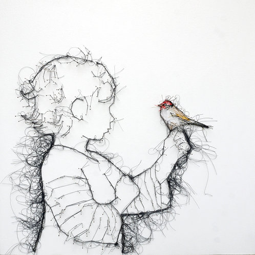 Children's contemporary art portraits in pin and thread by Debbie Smyth
