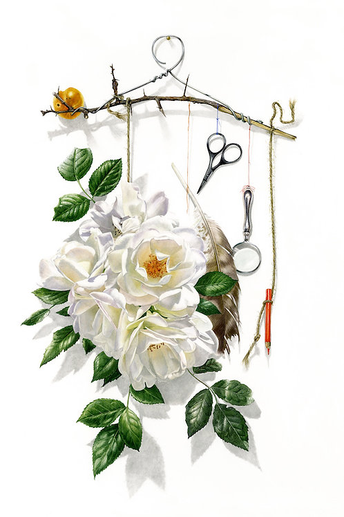 Incredible contemporary floral watercolour of roses and dressmakers items on a coat hanger by Billy Showell.