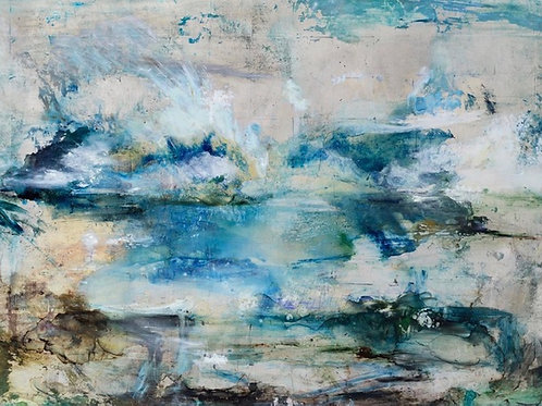 Contemporary landscape painting by Alice Cescatti in blues and greens.