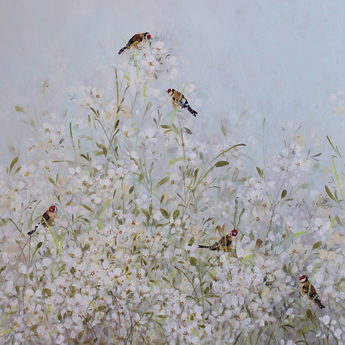 Pretty floral affordable art painting by Fletcher Prentice of sweet rocket flowers and birds