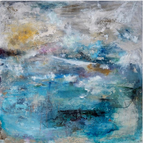 Beautiful contemporary seascape painting in blues and greens and purples by Alice Cescatti.