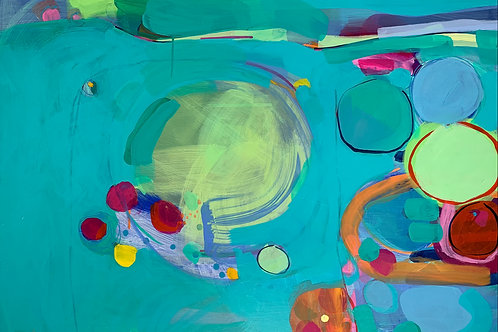Lovely blue and bright pink affordable abstract art by Rose Shorrock.