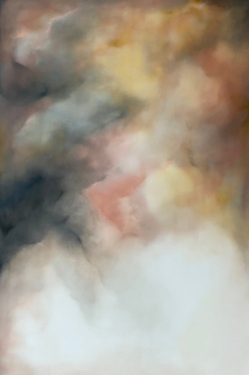 Stunning yellow and pink sky contemporary painting by Rebecca Morris. Contemporary artwork for modern interiors.