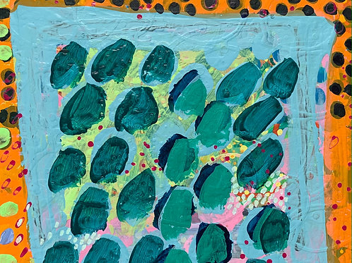 Lovely abstract contemporary artwork in light blue and pink by Rose Shorrock.