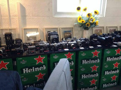 A collection of cameras at  A display of Bhong Odal's works at Overexposed event