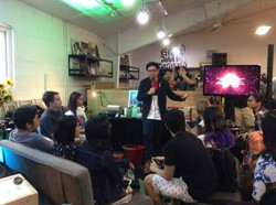 Franz Lopez conducts the Visual Storytelling workshop  A display of Bhong Odal's works at Overexpose