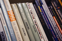 A collection of photography books at StratoBOX Studios Gallery