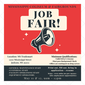 Mississippi State Fairgrounds Hosts Job Fair Tuesday and Wednesday