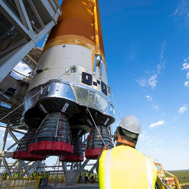 NASA Removes Rocket Core Stage for Artemis Moon Mission from Stennis Test Stand