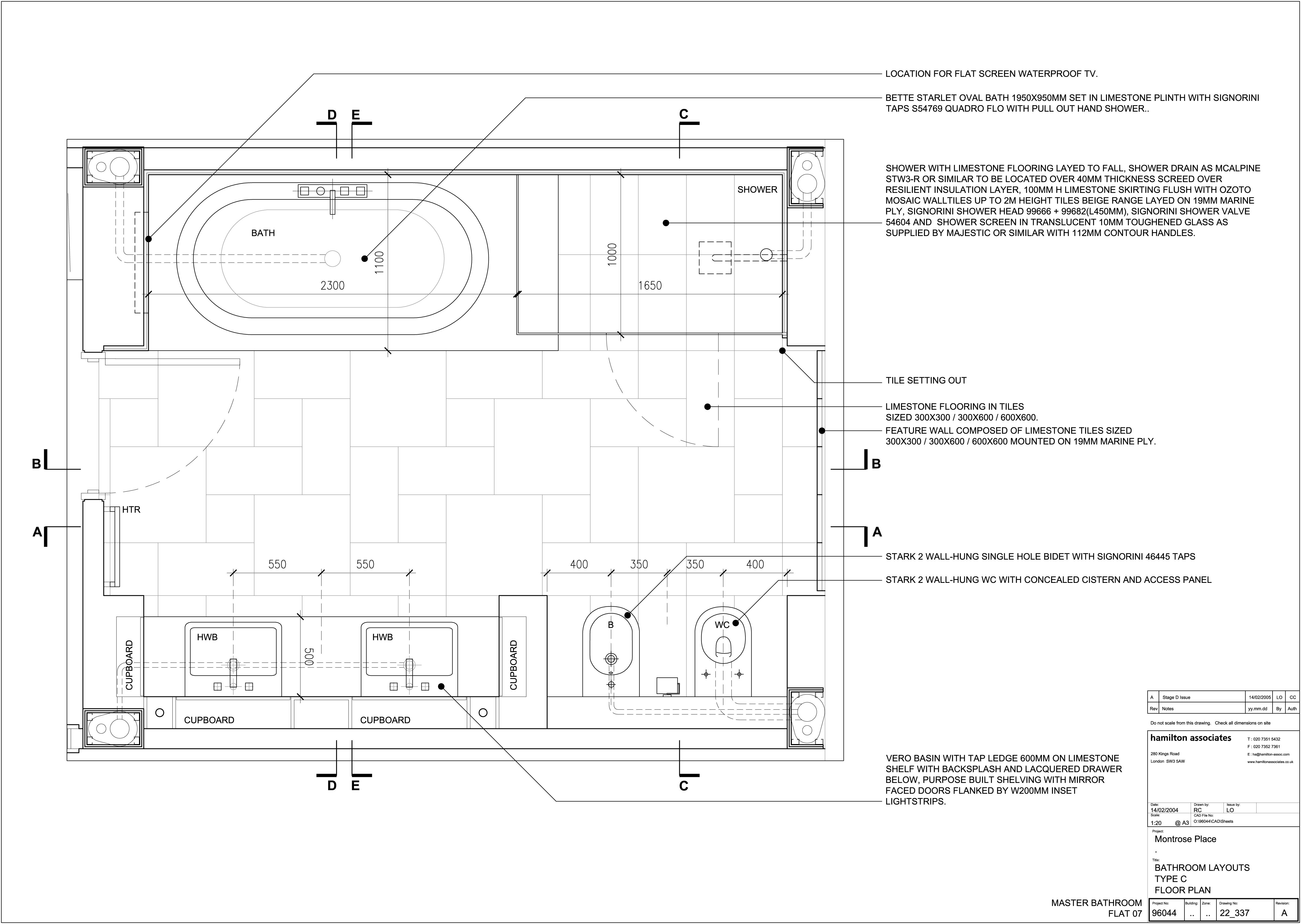 Detailed layout of bathroom
