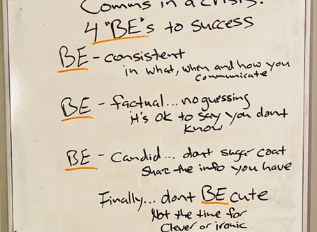 Comms in a Crisis…the 4 BEs