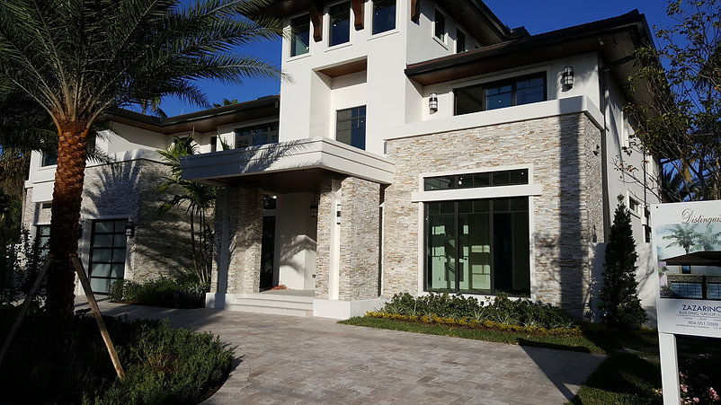 Finished house facade with natural stone