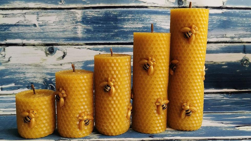 Медовая свеча из вощины (Ø4.5см)