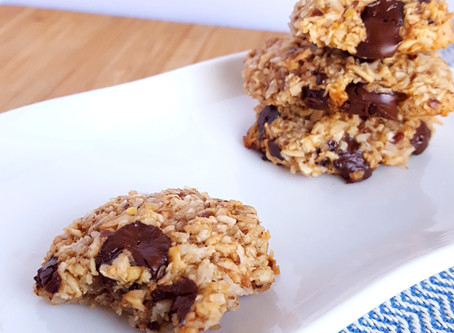 Healthy cookies with chocolate, coconut &oats