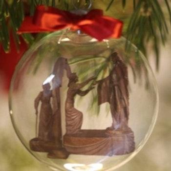 Come Unto Me Glass Christmas Ornament