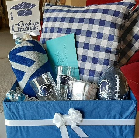 PSU gift box with homemade pillows.jpg