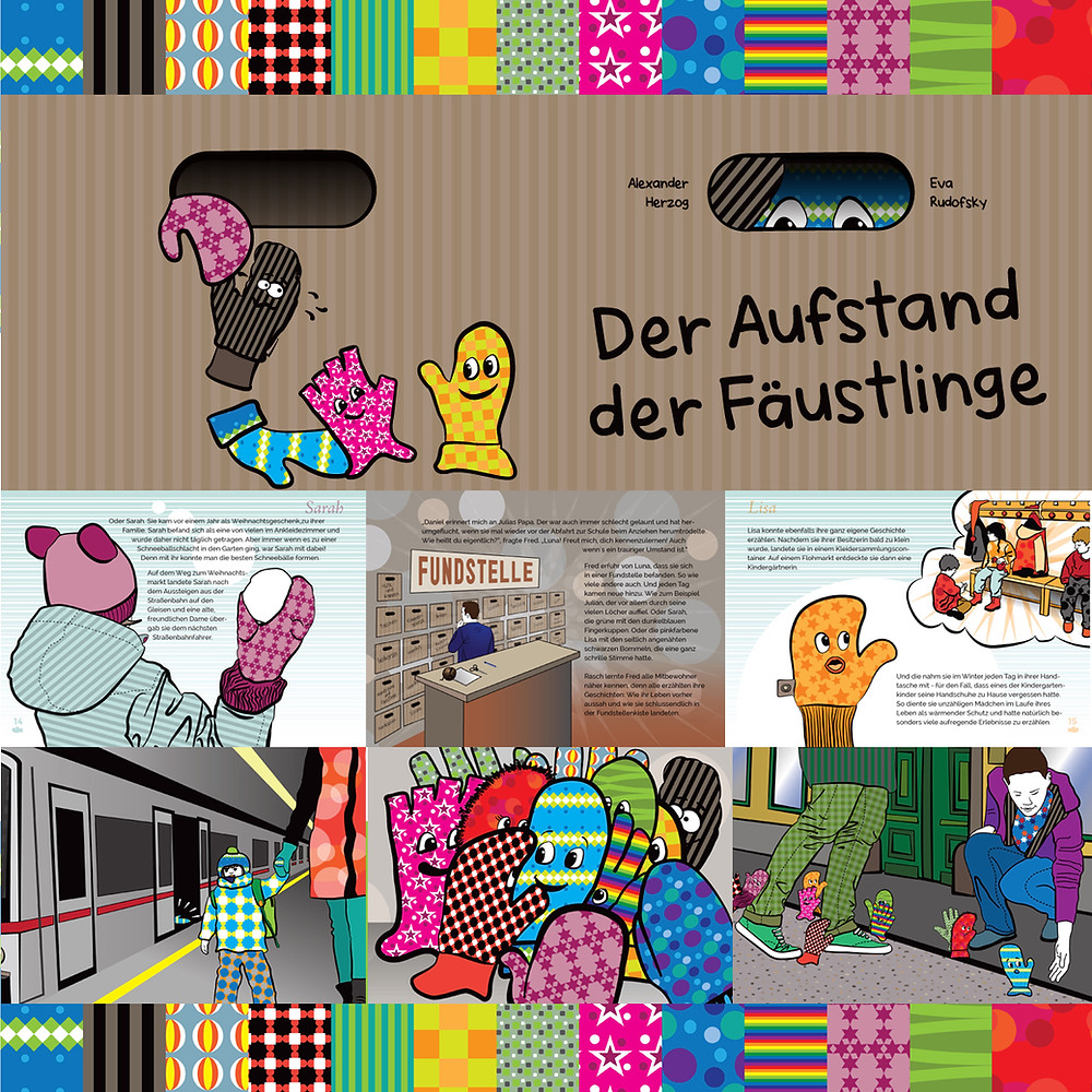 """""""Der Aufstand der Fäustlinge"""" ein Bilderbuch für Kinder mit Illustrationen von Eva Rudofsky, TOTALLY DARE."""