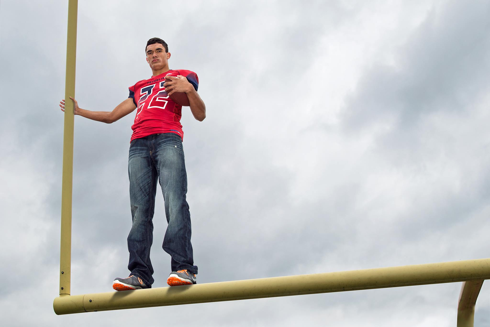 Nathan Rodgers - on goalposts - wide
