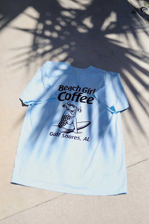 Beach Girl Coffee Tee (Blue)