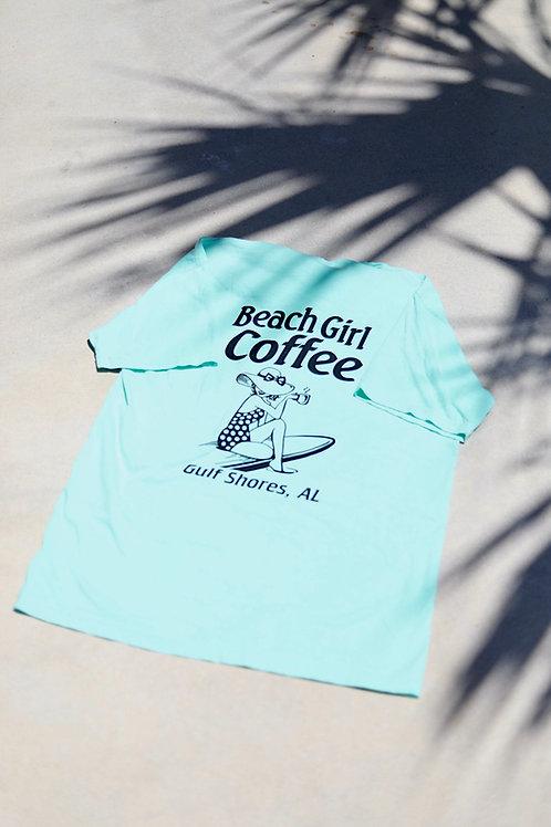 Beach Girl Coffee Tee (Green)