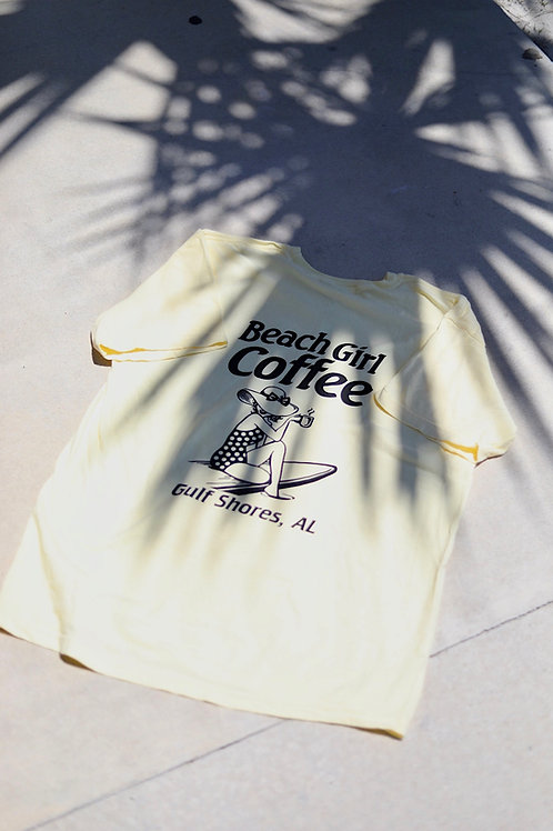 Beach Girl Coffee Tee (yellow)
