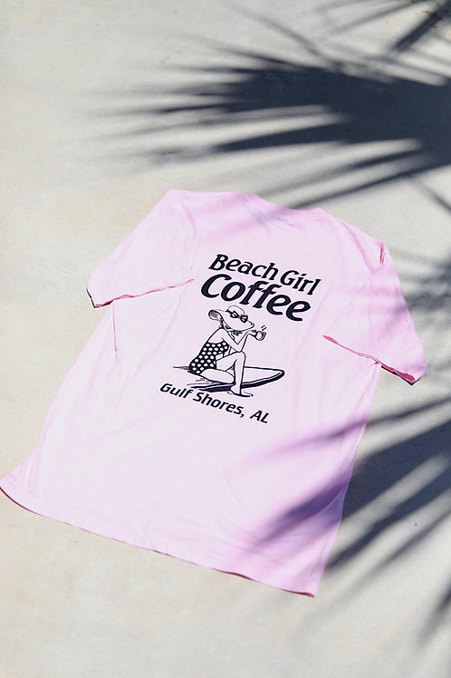 Beach Girl Coffee Tee (Pink)