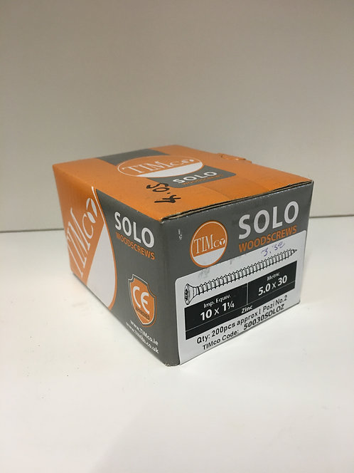5.0 x 30 Solo Woodscrews - PZ - Double Countersunk - Zinc