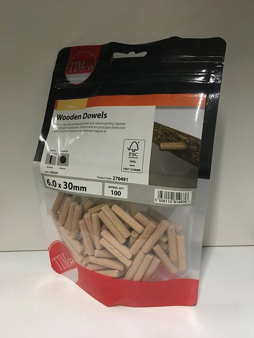 Wooden Dowels 6.0 x 30