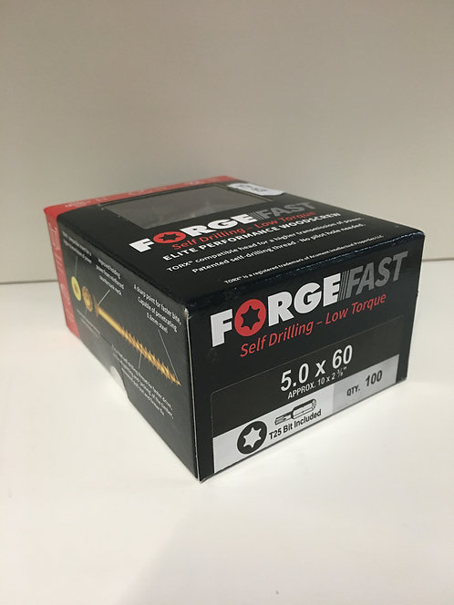 Forgefast 5.0 x 60mm Elite Performance Torx Woodscrews 100 Pack