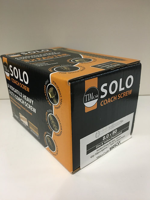 8.0 x 80 Solo Coach Screws - Hex Flange - Yellow