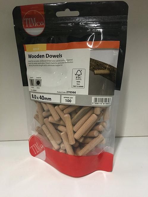 Wooden Dowels 8.0 x 40