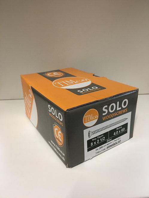 4.0 x 60 Solo Woodscrews - PZ - Double Countersunk - Zinc