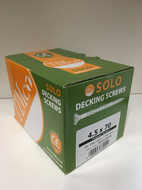 4.5 x 70 - Solo Decking Screws - PZ - Double Countersunk - Exterior - Green