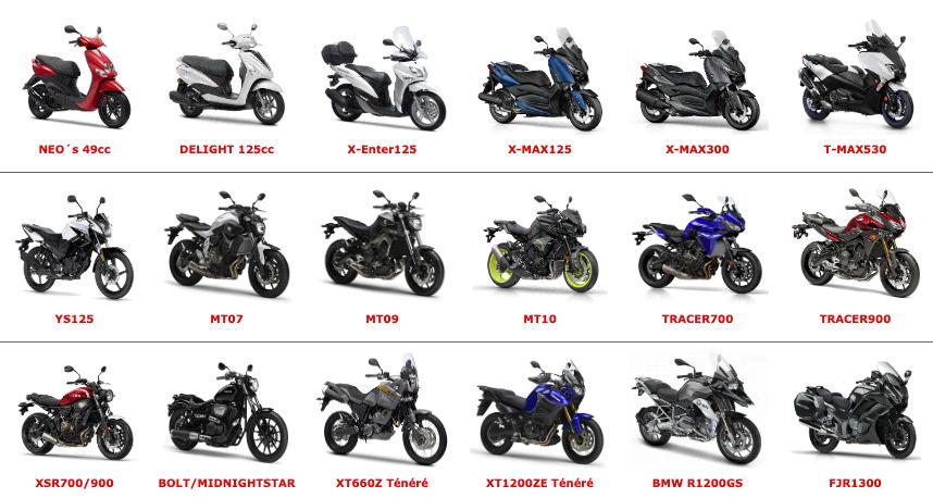 Udlejningsmotorcyklerne i Spanien