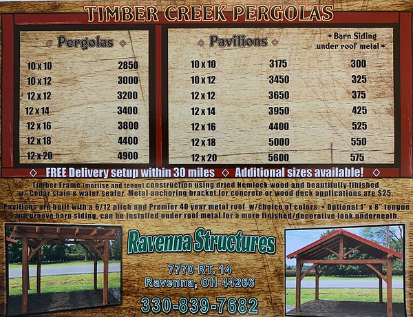 Timber Creek Pergola prices
