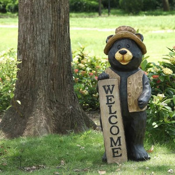 Bear Standing Welcome Sign