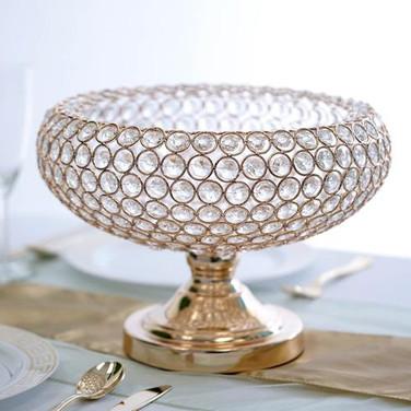 Goblet Crystal Vase 9 Tall 12 Wide Gold