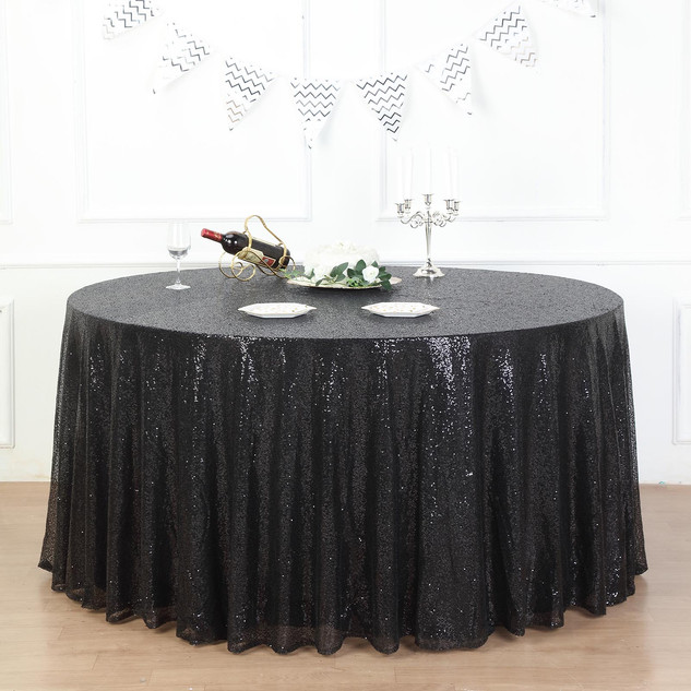 Sequin Tablecloth Black