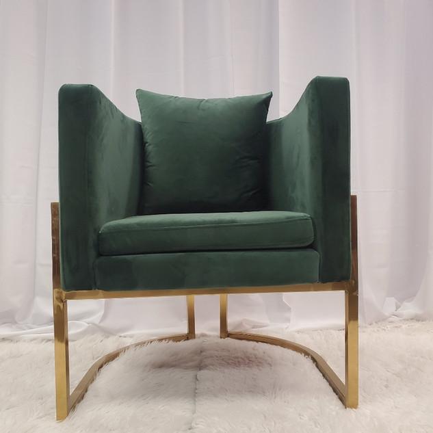 Lounge Chair Hunter Green Gold Frame